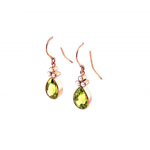 Peridot and seed pearl drop earrings