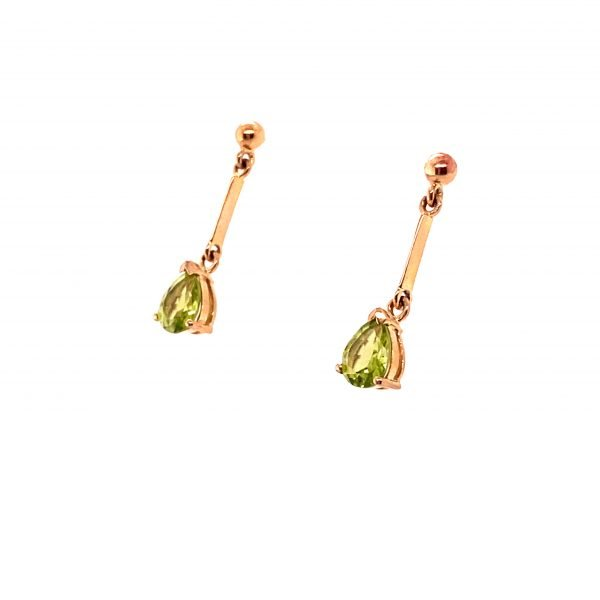Peridot pear shaped drop earring