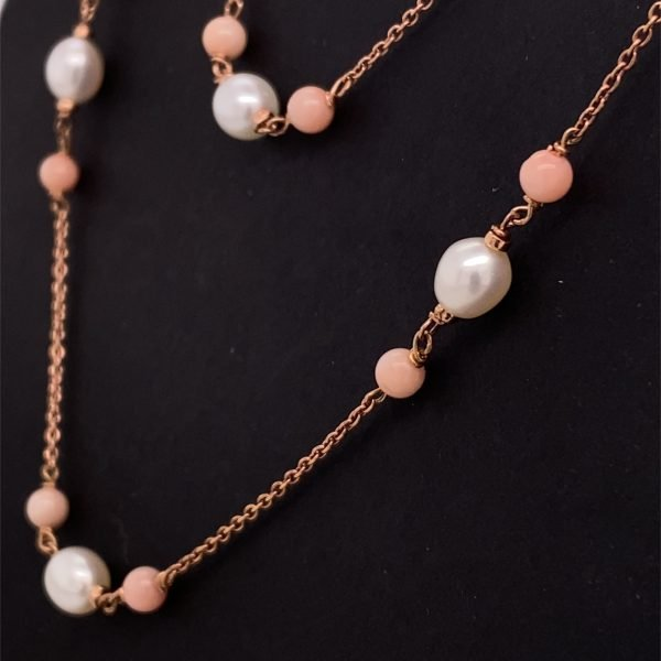 Coral and pearl long necklace