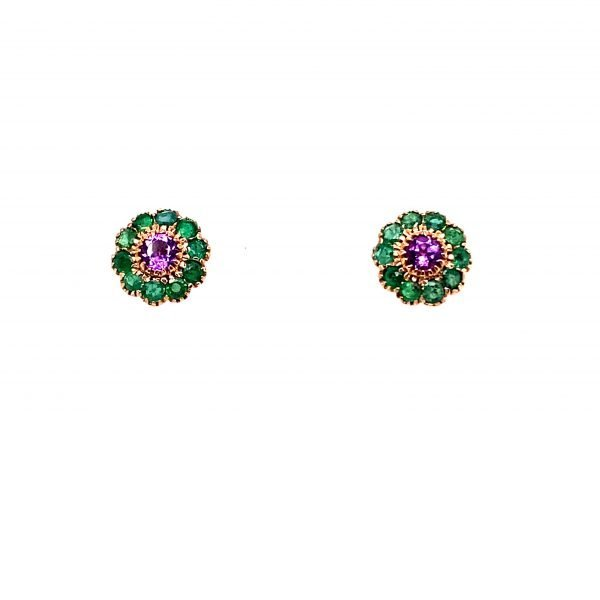 Amethyst and emerald flower stud earrings