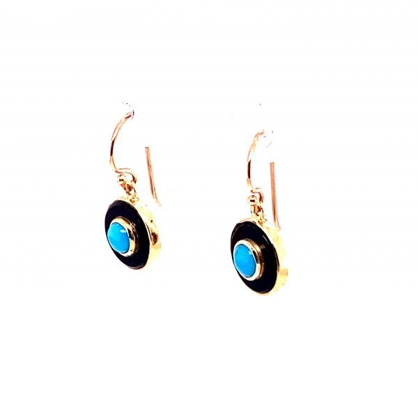 Turquoise and onyx disc drop earrings