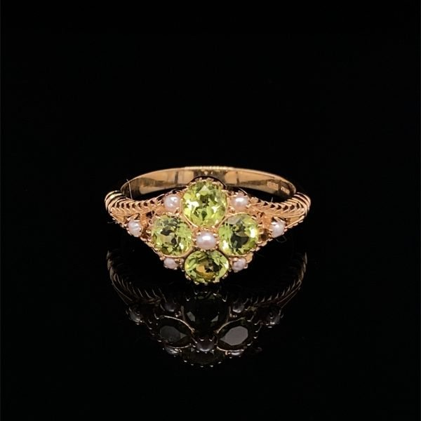 Peridot and seed pearl ring
