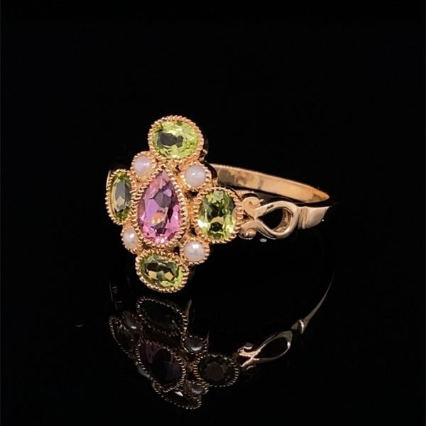 Pink topaz, peridot and seed pearl ring