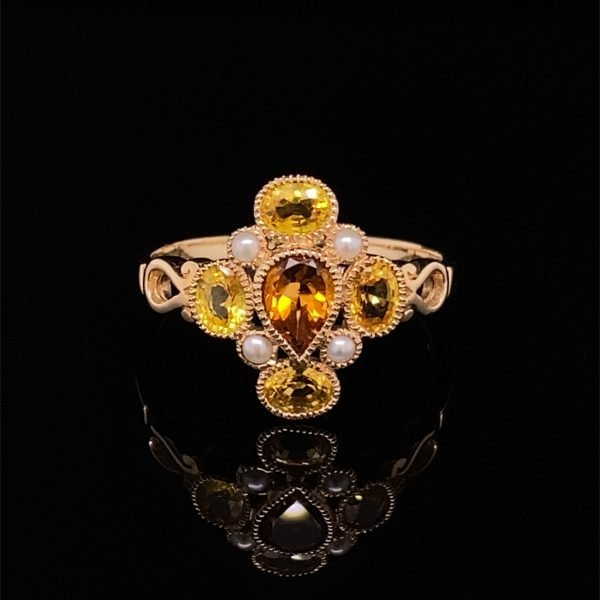 Yellow sapphire, citrine and seed pearl ring