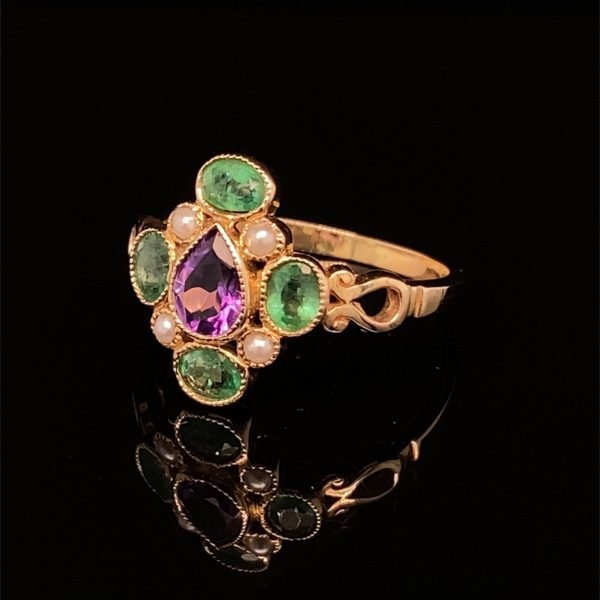 Amethyst, emerald and seed pearl ring