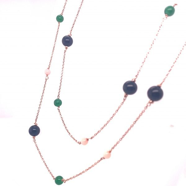 Jade, coral and onyx long necklace