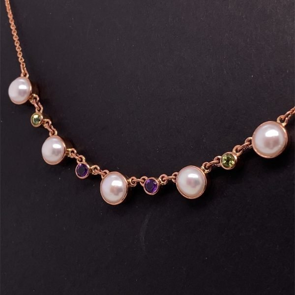 Pearl, peridot and amethyst necklet