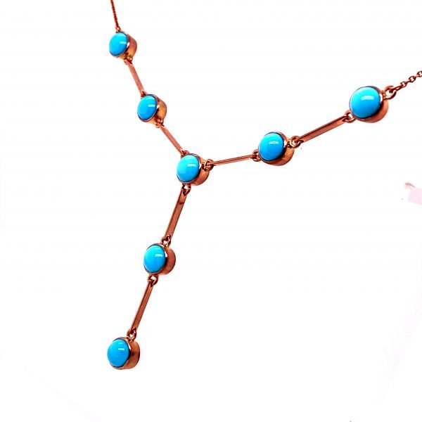 Turquoise and rose gold bar drop necklet