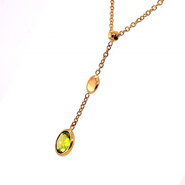 Peridot drop necklet