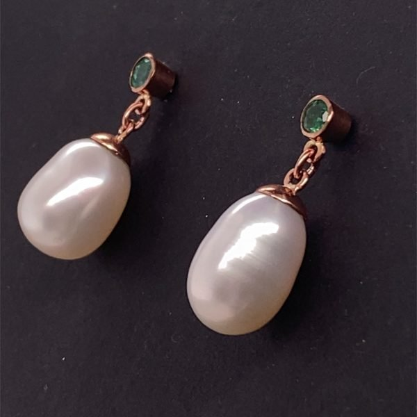 Pearl and emerald drop earrings