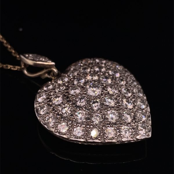 Pave set heart pendant and chain