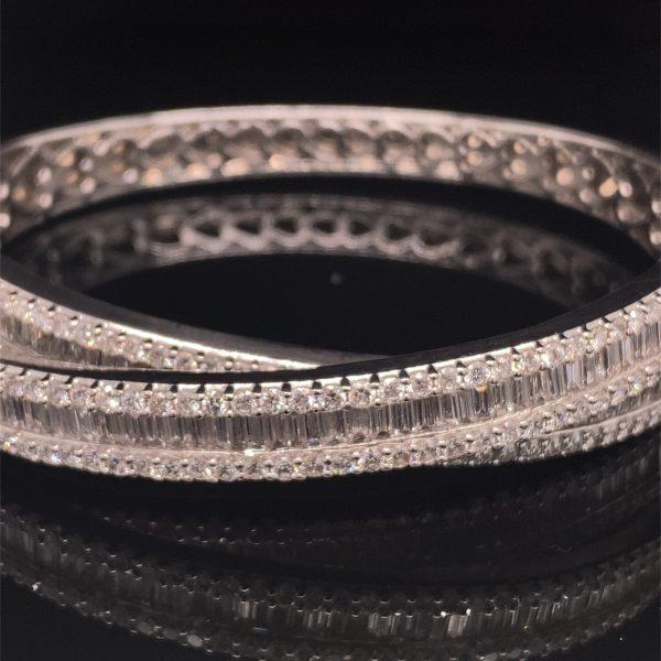 Diamond set, cross over, hinged bracelet