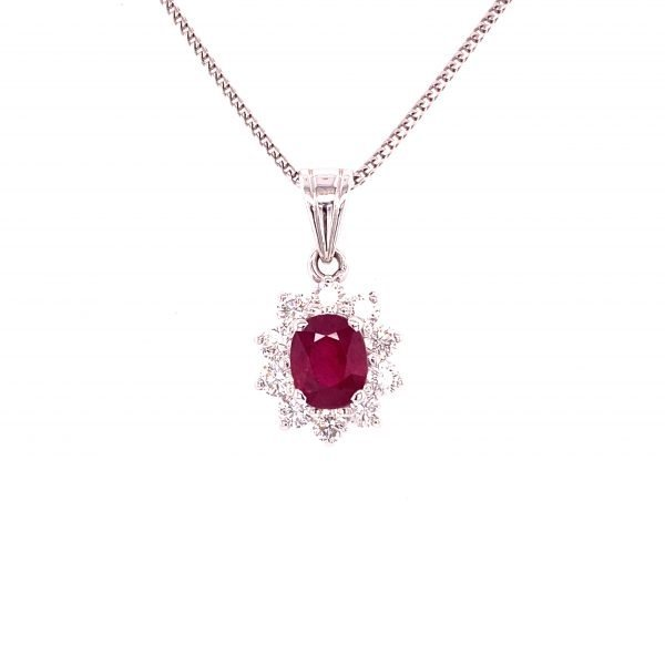 Ruby and diamond cluster pendant and chain