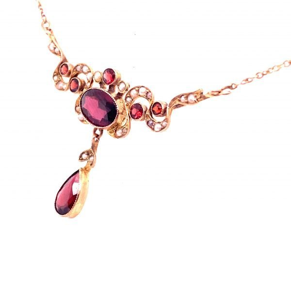 Edwardian garnet and seed pearl necklet
