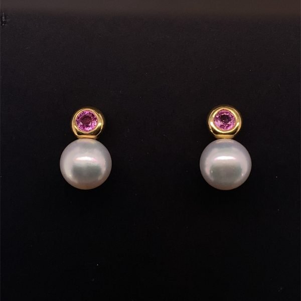 South Sea pearl and pink sapphire stud earrings