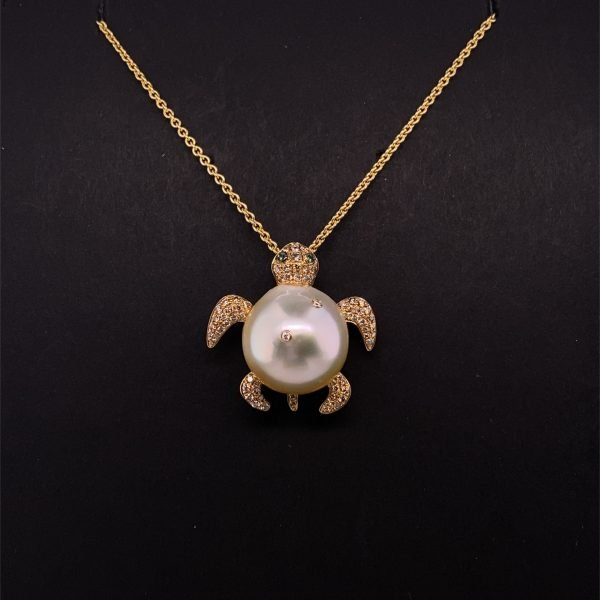 South Sea pearl, diamond and emerald turtle pendant and chain