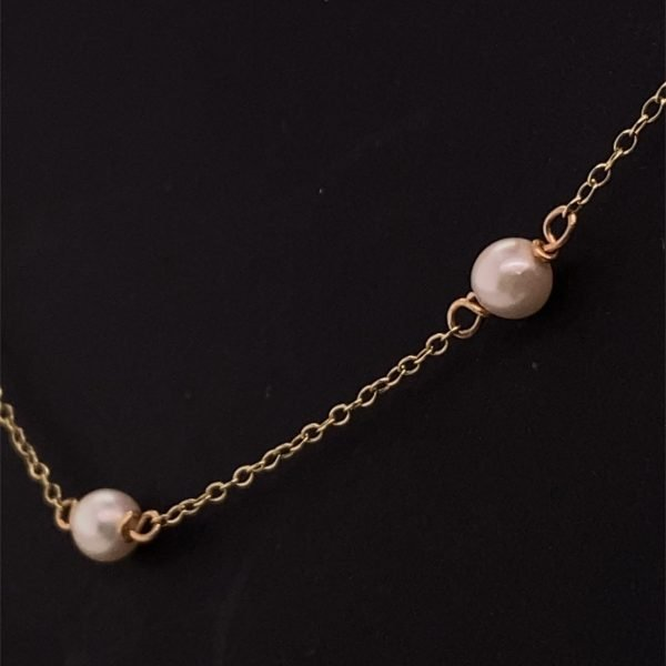 Pearl and yellow gold chain necklet