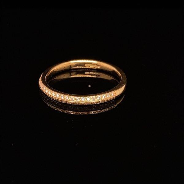 Diamond set, double row, half eternity ring / wedding band