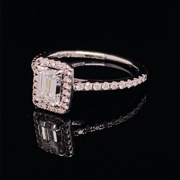 Diamond emerald cut halo ring