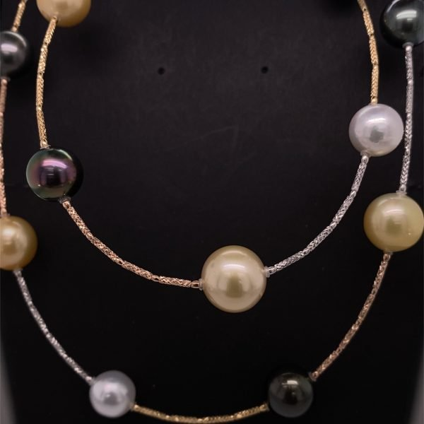 South Sea and Tahitian pearl long necklet