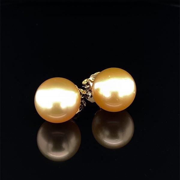 Gold South Sea pearl stud earrings