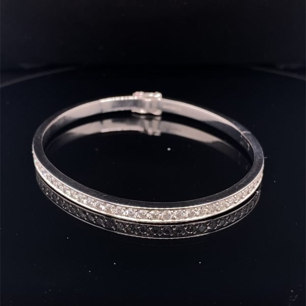 Diamond set hinged bangle