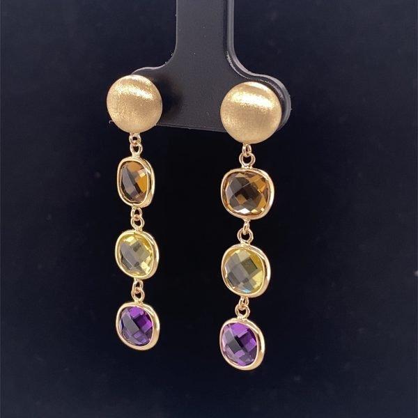 Amethyst, citrine and lemon quartz drop earrings