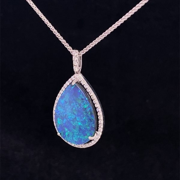 Black opal and diamond pendant with chain