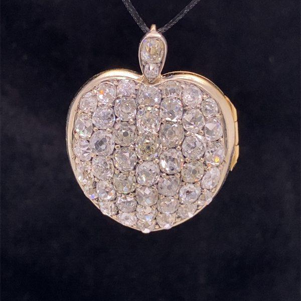 Early Victorian, diamond set, heart shaped locket