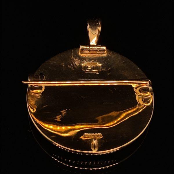 Gold, painted enamel pendant / brooch