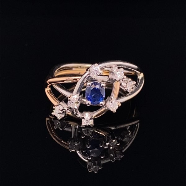 Sapphire and diamond abstract ring