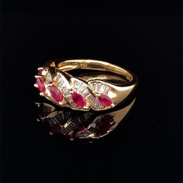 Ruby and diamond set ring