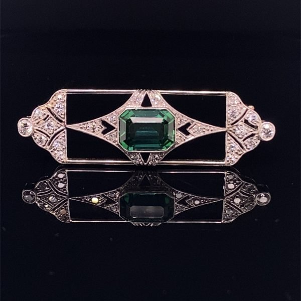 Tourmaline and diamond Art Deco brooch