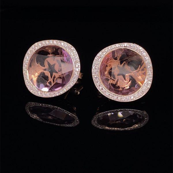 Pale amethyst and diamond stud earrings