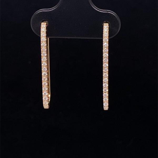 Diamond set long hoop earrings