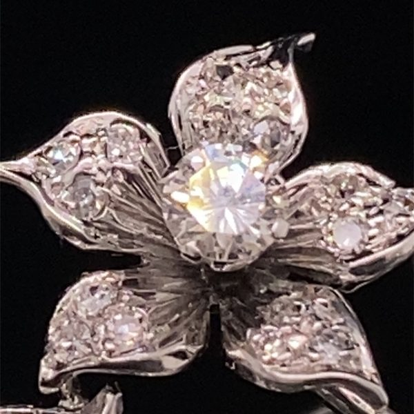 Diamond set sprig brooch