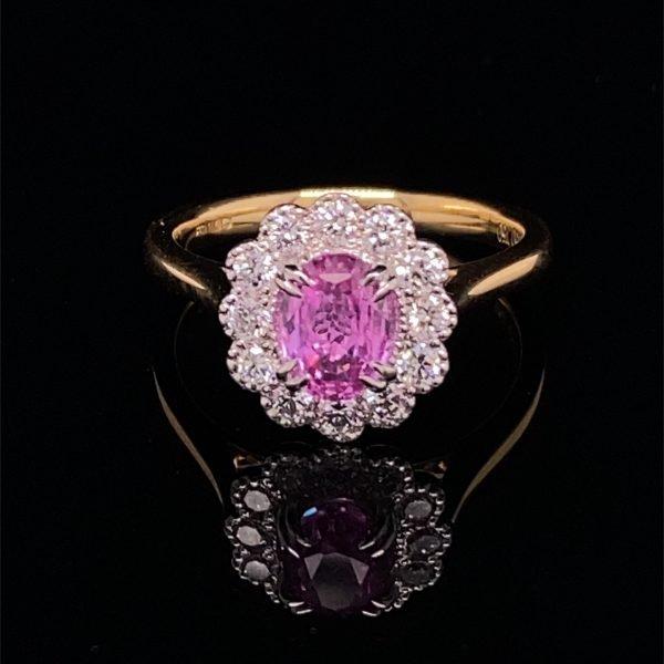 Pink sapphire and diamond set ring